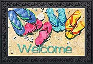 Briarwood Lane Beachy Flip Flops Summer Doormat Welcome Nautical Indoor Outdoor 18