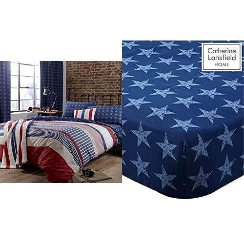 Catherine Lansfield Stars & Stripes - Funda Nórdica Y Funda De Almohada Cama, 220 X 180 Cm, Color Azul + Stars and Stripes - Sábana Bajera (90 X 190 + 25 Cm