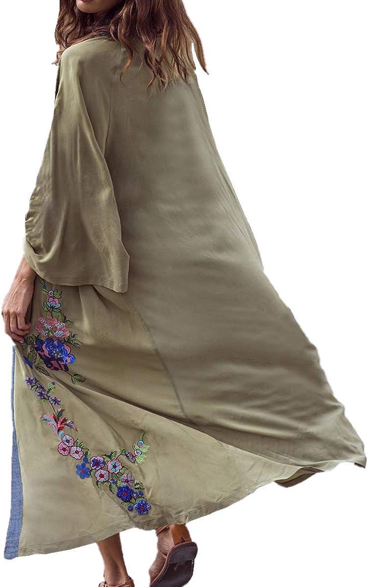 LikeJump Chiffon Vestido de Playa Kaftan Kimonos Pareos Bohemia Cover Ups para Mujer