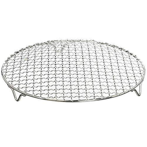 Chris-Wang 1Pack Multi-Purpose Round Stainless Steel Cross Wire Steaming Cooling Barbecue Rack/Carbon Baking Net/Grill/Pan Grate with Legs(11Inch Dia)