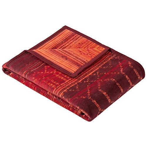 Ibena Bursa koc do wtulania się 150 x 200 cm – koc ze wspaniałym połączeniem wzorów, czerwony, łatwy w pielęgnacji i mięciutka mieszanka bawełny