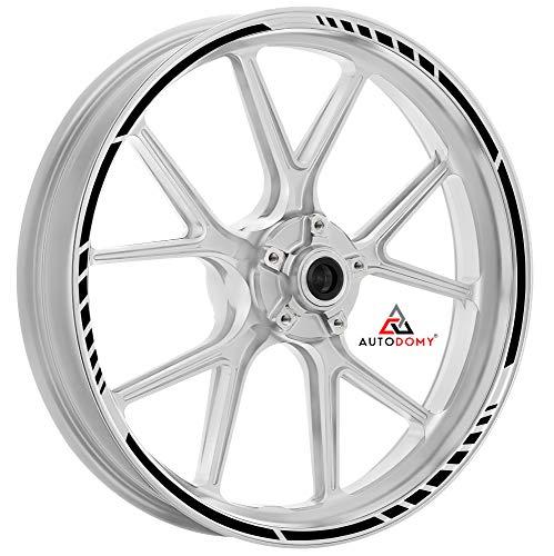 Autodomy Pegatinas Llantas Moto Juego Completo para 2 Llantas de 15' a 19' Pulgadas Diseño Sport (Negro)