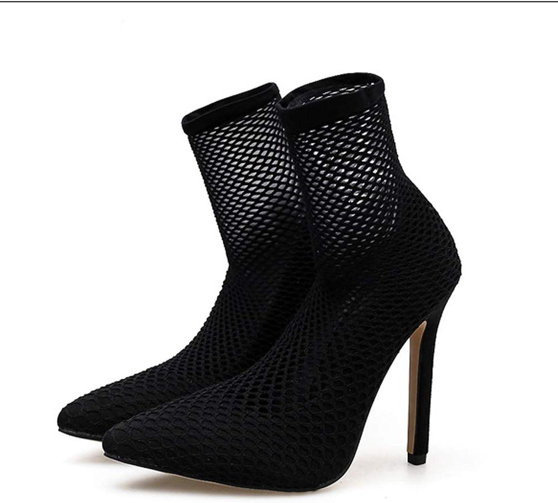 Openwork Mesh Sandals Bar Nightclub Pointed High Heels