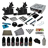 Tattoo Complete Kits Set 2pcs Tattoo Machines Guns 7 Color Ink Digital Power Supply Redscorpion