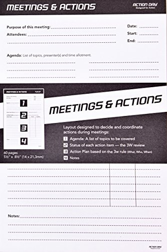 Action Day - Meetings & Actions Pad - Size 5x8 - Layout Designed to Run Effective Meetings That Get Things Done (Meeting Notepad (+) Meeting Notes)