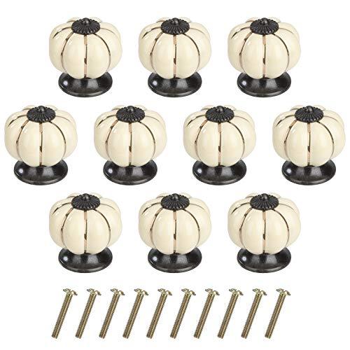 Pomolo per Mobile di Zucca Pomelli per Porta Ceramica Maniglia per Armadietto con Viti per Porte Armadietti Cassetti e Guardaroba Accessori Mobili 10 Pezzi Avorio