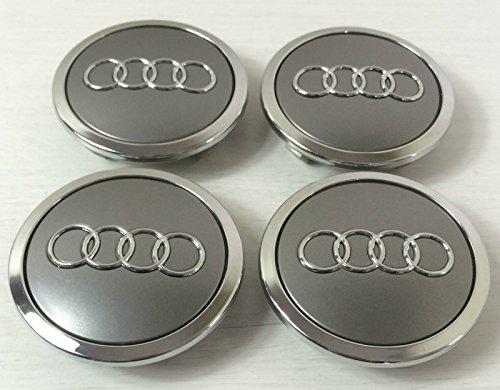 Juego de 4 chapas centrales para ruedas de aleación Audi en color gris