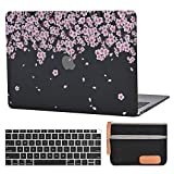 MacBook air 13 Laptop Case for New MacBook Air 13' Retina (2018, Touch ID) w/Keyboard Cover Plastic Hard Shell Sleeve A1932 with Silicon Keyboard Cover and dust Brush (Peach Blossom-Frost Black)