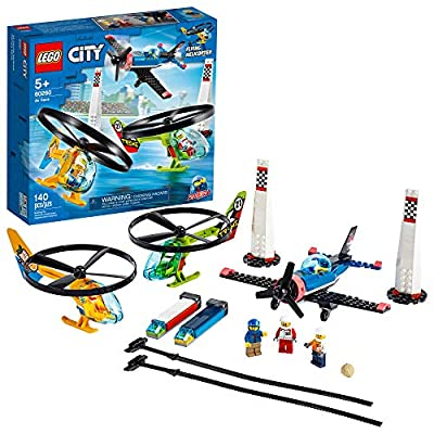 LEGO City Air Race 60260 Flying Helicopter & Airplane Toy, Features 2 Ripcord Helicopters, Stunt Plane Aircraft Toy, 2 Pylons, Plus Rivera, Xtreme and Vitarush Pilot Minifigures, New 2020 (140 Pieces) by LEGO