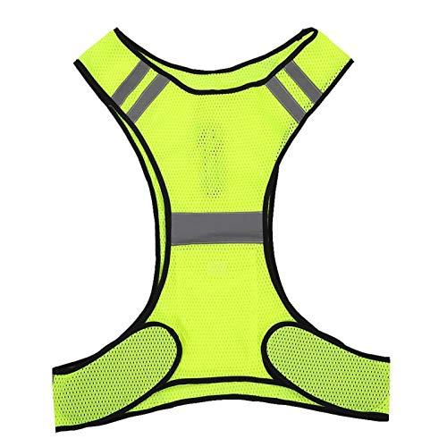 DAUERHAFT Chaleco Reflectante Chaleco de Seguridad a Prueba de Sudor para Correr de Noche(Fluorescent Yellow)