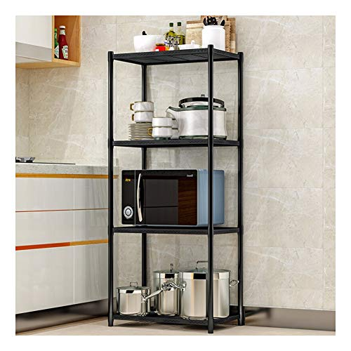 Keuken Multi-Functionele Opslag Rack,Woonkamer Vloeropslag Rack Opslag Rack Iron Flower Stand Keuken Plank Oven Stand Magnetron Oven Plank Display Stand stijlnaam size Zwart