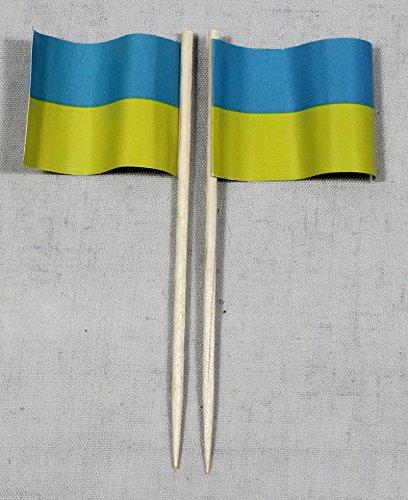 Buddel-Bini Party-Picker Flagge Ukraine Papierfähnchen in Profiqualität 50 Stück 8 cm Offsetdruck Riesenauswahl aus eigener Herstellung