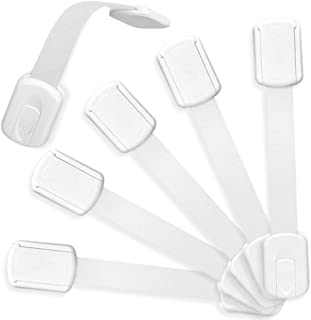 Haneye Child Safety Locks, 6 Pack Baby Safety Locks for Cabinets, Drawers, Fridges, Adjustable Strap Locks With Strong Adh...