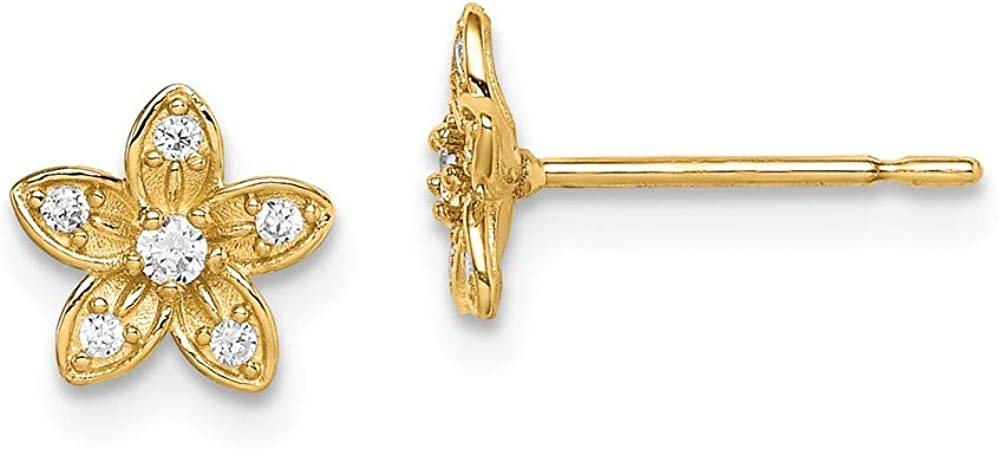Solid 14k Yellow Gold CZ Cubic Zirconia Flower Post Studs Earrings