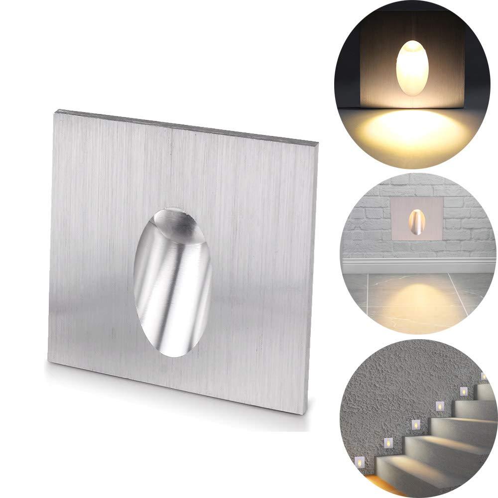 ALLOMN Lámpara empotrada LED de pared, apliques de pared Luz cuadrada Escotada LED Escaleras escalonadas Lámpara Porche Luz de paso 1W Bombilla de sótano CA 100-245V (Blanco Cálido, 1 PCS): Amazon.es: Iluminación