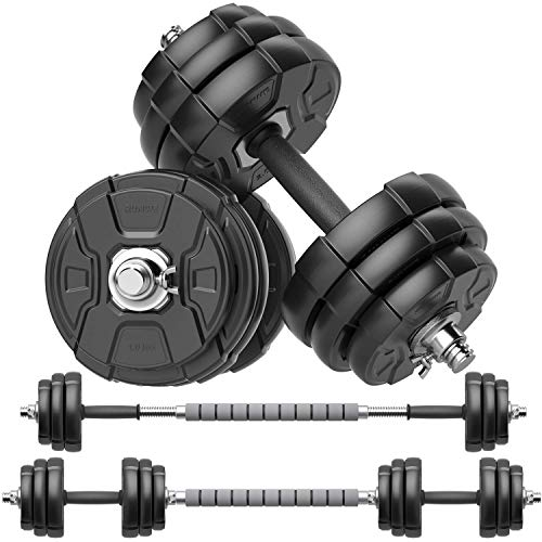 RUNWE Adjustable Dumbbell Barbell Set, Free Weight Set with Steel Connector at Home/Office/Gym Fitness Workout Exercises Training, All-Purpose for Men/Women/Beginner/Pro (44 lb(2 Dumbbells in Total))