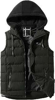 LISTHA Padded Cotton Vest Mens Hooded Thick Gilet Warm Sleeveless Jacket Coat