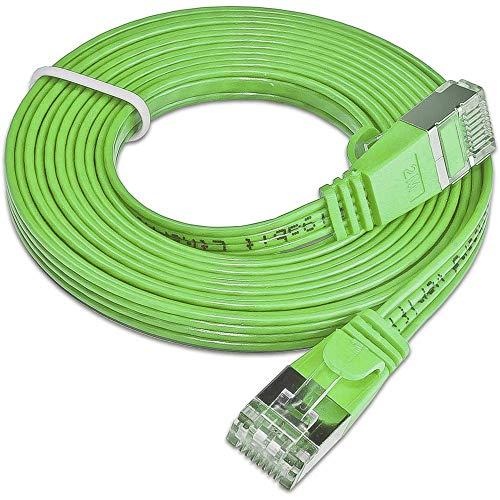 Slim Wirewin PKW-STP-Slim-KAT6 0.5 GN RJ45 Netzwerkkabel, Patchkabel CAT 6 U/FTP 0.50m Gruen flach 1, 0.5m