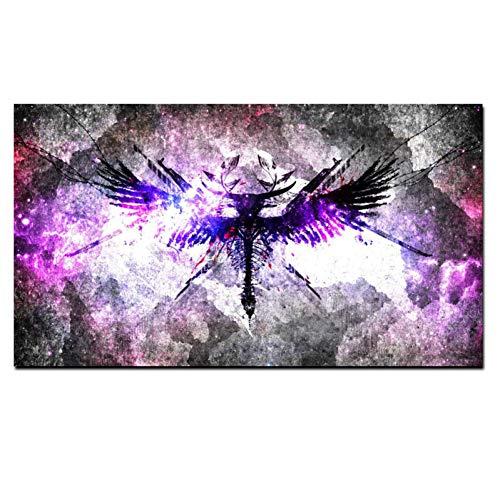 WYLYSD 3D abstrakte Engel Krieger Symbole Leinwand Malerei psychedelischen Hintergrunddruck auf Leinwand Poster Wandkunst