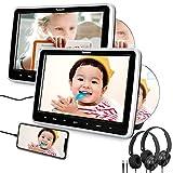 NAVISKAUTO Double Lecteur DVD Voiture pour Enfant 10,1 Pouce Ecran d'appui tête Slot in Design Supporte Entrée HDMI AV in/AV Out Région Libre USB SD