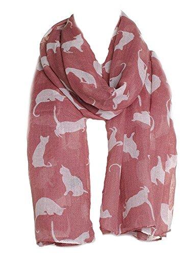 Pink mit weißen Katzen Schal, schönes Design, fantastisch für den Tierfreund in Uns Allen (Pink with White Cats Scarf, Beautiful Design, Fantastic for The Animal Lover in us All)