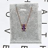 MSSZH Collar Color De Moda Diamantes De Criolita Collar De Números Romanos Joyería De Piedra De Explosión De Oro Rosa Femenino Joyería, Púrpura