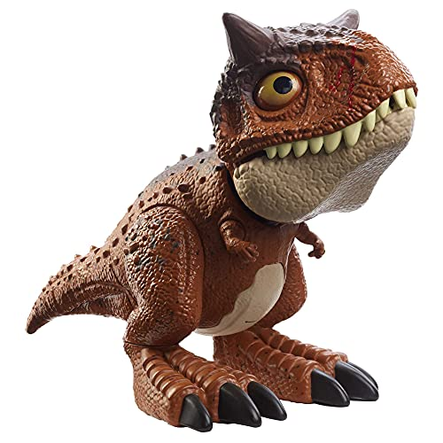 Jurassic World Camp Cretaceous Chompin' Carnotaurus Toro Dinosaur Action Figure with Button-Activated Chomping & Other Motions, Realistic Sculpting, Kid Gift Age 4 Years & Up