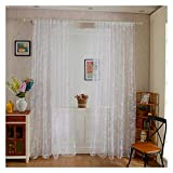 Freahap Cortinas Translúcidas Visillos para Ventanas para Habitaciones Dormitorios Salones Decoración Moderna para Hogar Blanca
