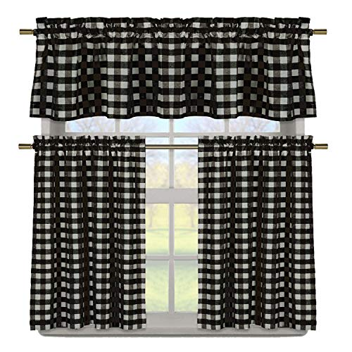 Duck River Textile Buffalo Plaid Gingham Checkered Premium Cotton Blend Kitchen Curtain Tier & Valance Set (Black & White)