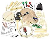Betzold 42285 - Instrumente-Rhytmik-Set, 6 tlg, Musikinstrumente, Tamburin, Cymbeln, Triangel, Maracas, Claves, Schellenringe - Musik-Unterricht musikalische Früherziehung