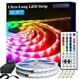 LED Strip Lights, 65.6ft RGB 5050 LED Lights for Bedroom, Room, Kitchen, Home Decor DIY Color Changing Led Light Strip Kit with 44key Remote and Power Supply