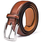 Men's Genuine Leather Dress Belt with Premium Quality - Classic & Fashion Design for Work Business and Casual (esBrown, 42)