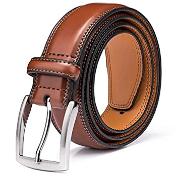 Men s Genuine Leather Dress Belt with Premium Quality - Classic & Fashion Design for Work Business and Casual  esBrown 32