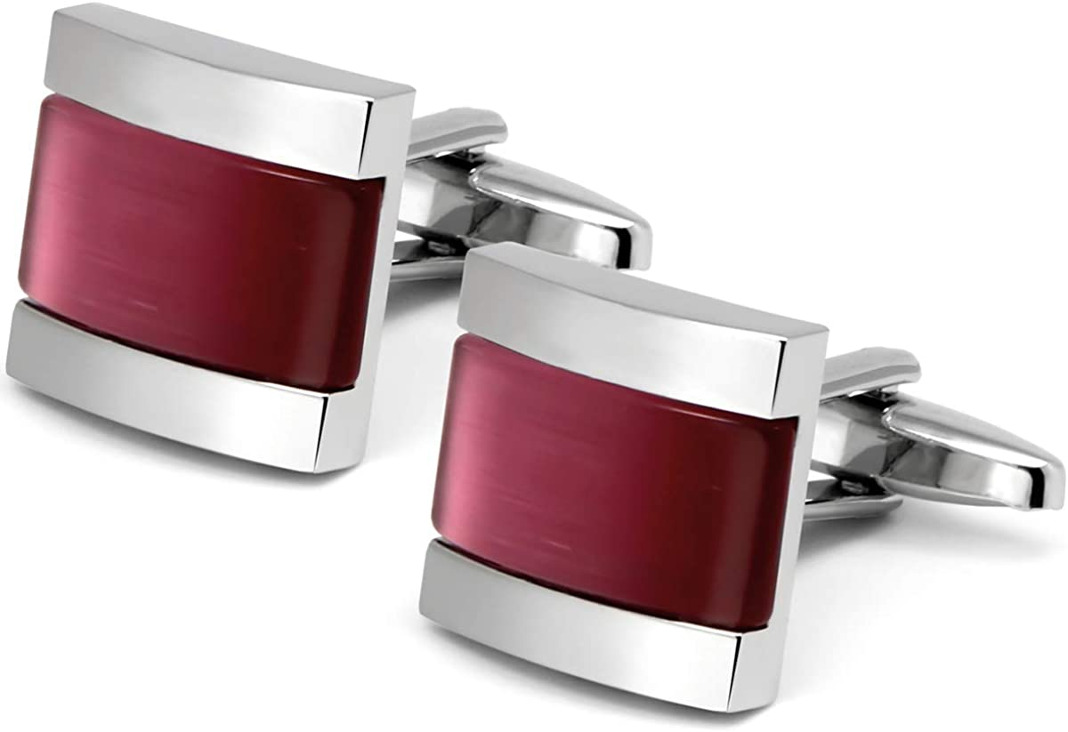 VIILOCK 2021 new Square Cat Eye New product! New type Cufflinks for Men Tone Cuff Opal L Sliver