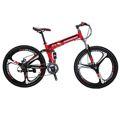 Eurobike Mountain Bike SL-G4 Type 21-Speed 26-Inch 3-Spoke Wheels Folding Bicycle (RED)