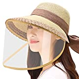 WAYCOM Removable Protective Straw Hat,Womens Beach Sun Straw Hat Wide Brim UPF50 Travel Foldable Summer Hat (Khaki+Transparent Shield)
