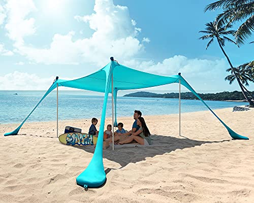 PETNOZ Beach Tent Canopy Sun Shade UPF50+, Easy Pop Up Anti-Wind Sun Shelter with Stability Poles/Carry Bag/Ground Pegs/Sand Shovel, Portable Sunshade for Beach Camping (Turquoise, 10×10 FT 4 Pole)