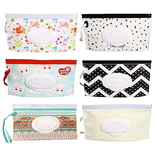 Pack de 6 dispensadores de toallitas húmedas portátiles rellenables para bebé, bolsa de toallitas húmedas, bolsa de viaje para bebé