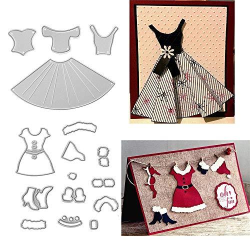 Metal Christmas Woman Santa Claus Dress Cutting Dies,Dress Skirt Die Cuts Embossing Stencils Template Mould for DIY Scrapbooking Album Decorative Paper Dies Card Making