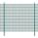 Festnight Doppelstabmattenzaun Gartenzaun & Pfosten 2008x1830mm Zaunpaneel Metallzaun Gesamtlänge 8m Zaunanlage Grün