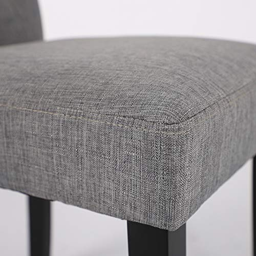 LSSBOUGHT Button-Tufted Upholstered Fabric Dining Chairs with Solid Wood Legs, Set of 4 (Gray)