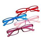 Romens Ltd Set 4 Pair Gafas de Lectura Hombre Mujeres +0.5 +1.00 +2.00 +3.00 +4.00 Slim Reading Glasses (4 Pair Set 3, 0.75)