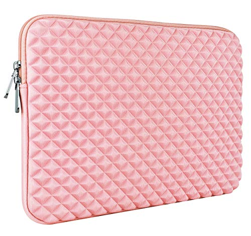 LuvCase Laptop Diamond Foam Neoprene Sleeve Case Bag with Pocket Compatible MacBook 12' A1534/ MacBook Air 11.6 inch, Surface Pro 5,4,3, Chromebook, Acer, Asus Notebook (Pink)