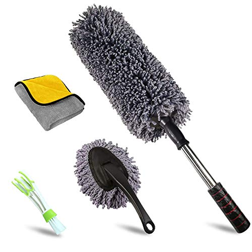 upra Ultimate Car Duster Kit, Set of 4, Best Extendable Microfiber Multipurpose Duster/Cleaning Dashboard Duster/Interior Car Detailing Brush/Lint Free Microfiber Cloths, Exterior or Interior Use