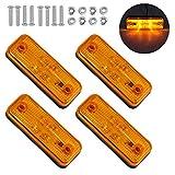 Justech 4PCs 4LED Luces Laterales para Remolque con E-Mark LED Lámparas de Marcador de Posición para Camión de 12V 24V Pilotos Laterales LED Impermeable IP67 para Camioneta Camión Remolque - Amarillo