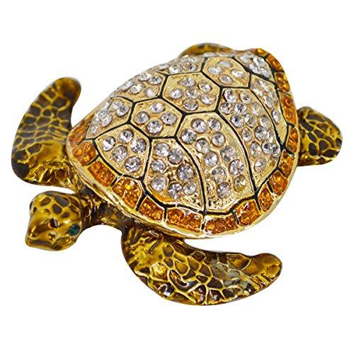 LA HAUTE Beautiful Pattern Crystal Studded Pewter Jewellery Trinket Box with Gift Box (Sea Turtle)
