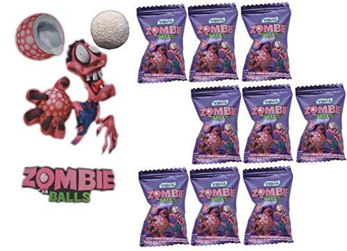 jameitop®⚫ Zombie Ball KAUGUMMI 10er Pack Gehirn Bälle mit saurer flüssiger Füllung ⚫
