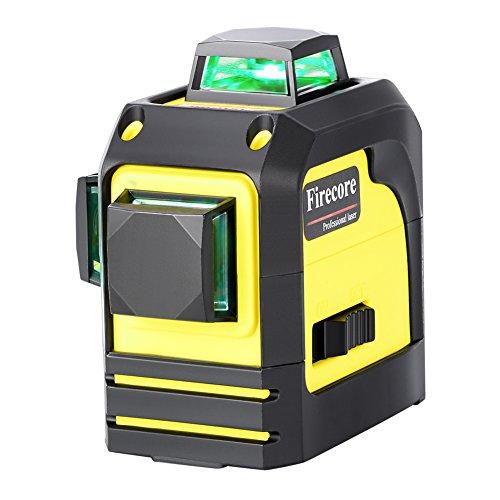 Firecore 3D selbstnivellierend Grün Kreuzlinien-Laser (selbstnivellierend bis ±4°,1x horizontale und 2x vertikale,Universalhalterung FM 10,Tragetasche) F93TG