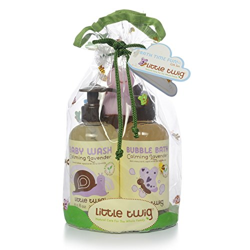 Little Twig Bath Time Fun Baby Wash Plus Bubble Bath Plus Soft Washcloth and Tub Toy Mini Gift Set, Calming Lavender, 1.25 Pound