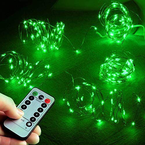 Abkshine 2 Pack Battery Operated Green Led Lights for St Patricks Day Decorations 50 LED Flexible Copper String Lights for Indoor Outdoor ST Patricks Day Accessoriess Decor